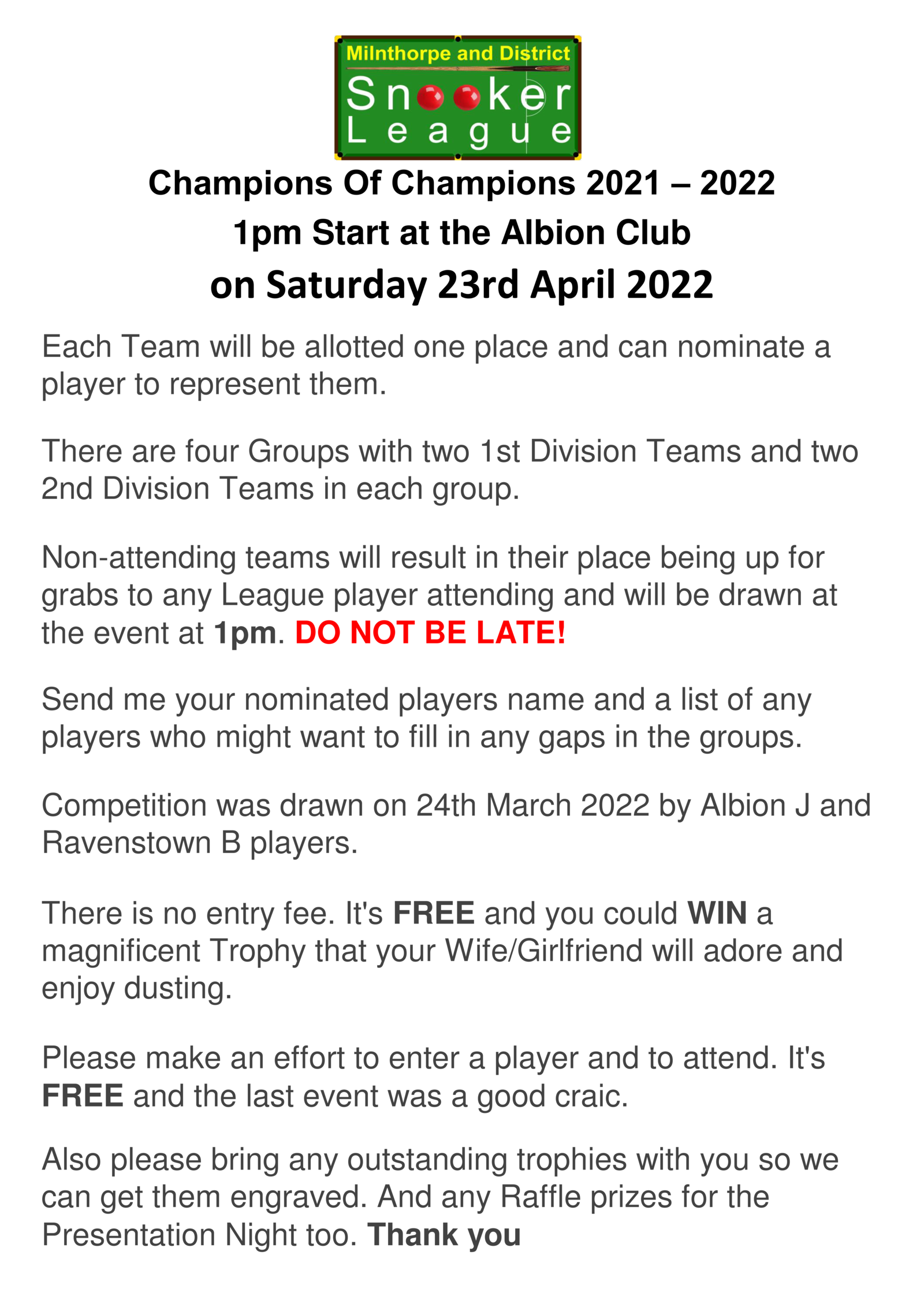 Details for The Champion Of Champions Competition